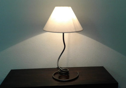 Bedside lamp beige cotton lampshade