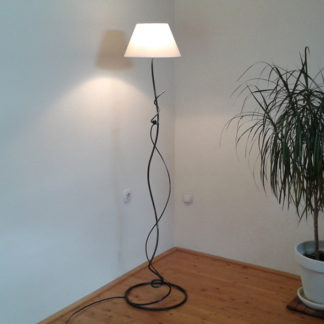 Decorative wrought iron floor lamp with cotton lampshade