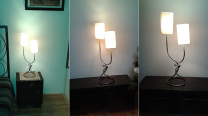Wrought iron lamp dubble cotton lampshades