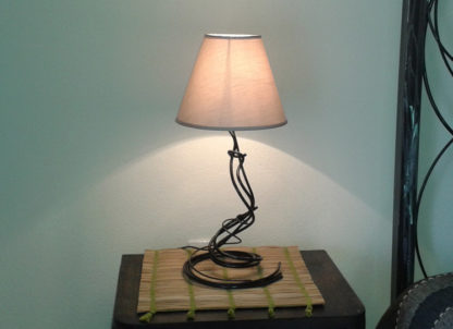 Decorative bedside table iron wires lamp lampshade cotton sand-beige