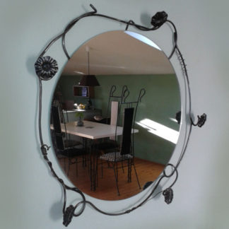 Decorative wrought iron mirror wall mounted
