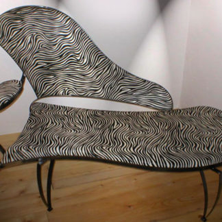 Decorative iron framed sofa with eco-fur zebra pattern upholstery