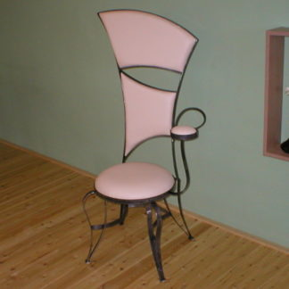 Decorative iron framed armchair - poltrona with white eco-leather upholstery